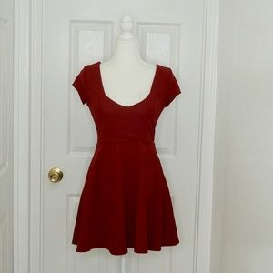 NASTY GAL Red Cap Sleeve Ribbed Mini Dress (S)